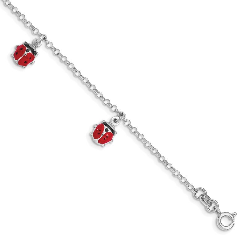 Quality Gold Sterling Silver Rhod-plated Enameled Ladybug 6in Plus 1 IN EXT Bracelet