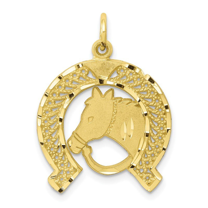 Quality Gold 10k Solid Flat-Backed Horsehead in Horseshoe Charm