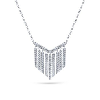 14K White Gold Diamond Fringe Necklace