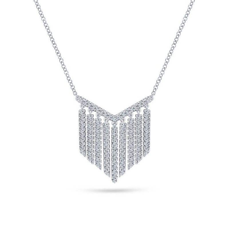 Gabriel Fashion 14K White Gold Diamond Fringe Necklace