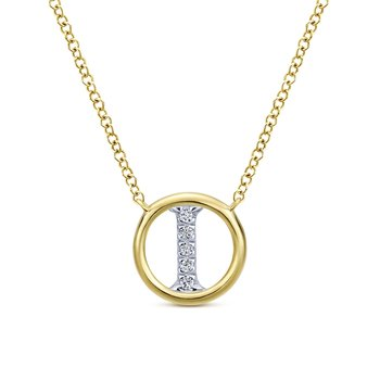 "14K Yellow Gold Diamond ""I"" Initial Necklace"
