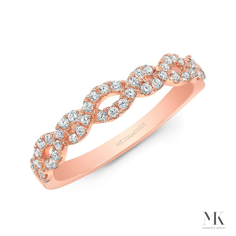 Rose Gold Braided Pave Band