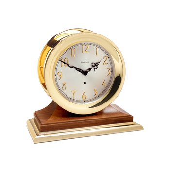 Concord Non-Striking Mechanical Clock in Brass on Walnut Base