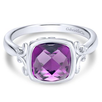 Silver Amethyst Ladies' Ring