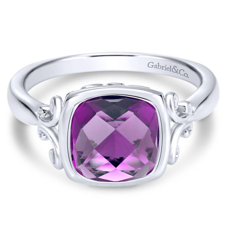Gabriel Fashion Silver Amethyst Ladies' Ring