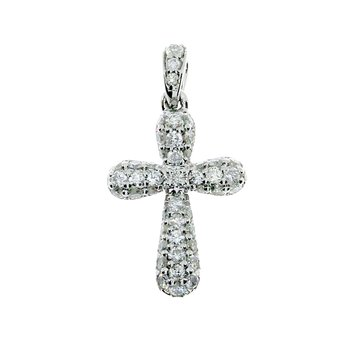 14K White Gold Diamond Pave Fashion Cross Pendant