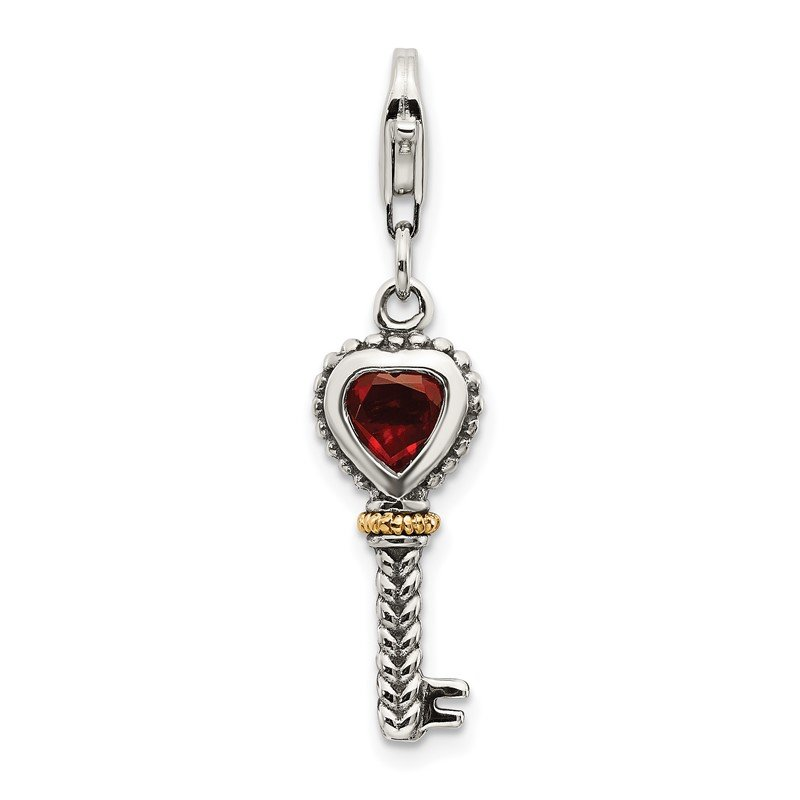 Quality Gold Sterling Silver w/14k Garnet Antiqued Key w/Lobster Clasp Charm