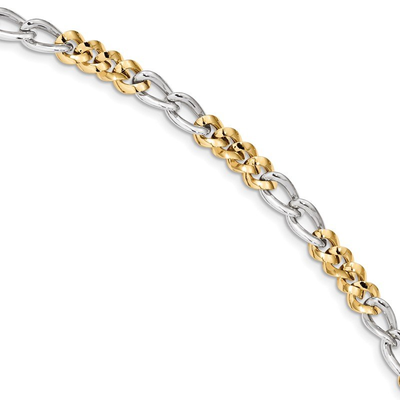 Quality Gold 14k Two-Tone Polished Bracelet