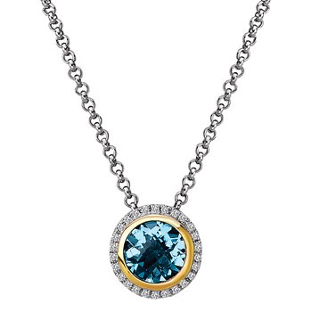 Diamond and Gemstone Halo Pendant