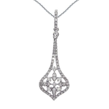 14k White Gold  Diamond Door Knocker Drop Pendant