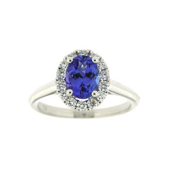 18k White Gold Ring with Tanzanite & Diamond