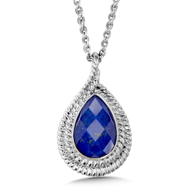 Colore Sg Sterling Silver Quartz & Lapis Pendant