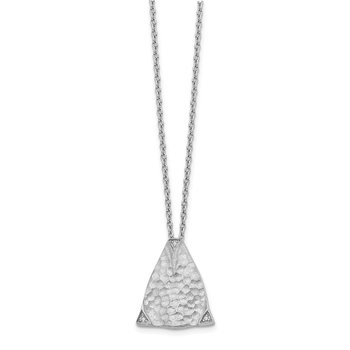 SS White Ice Textured Triangle Diamond Necklace