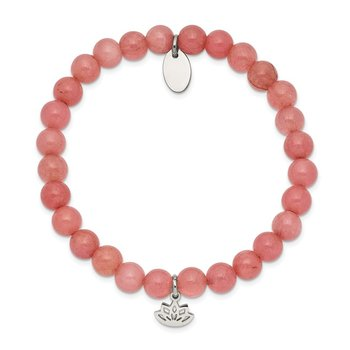 Stainless Steel Polished Lotus Pink Jade Beaded Stretch Bracelet
