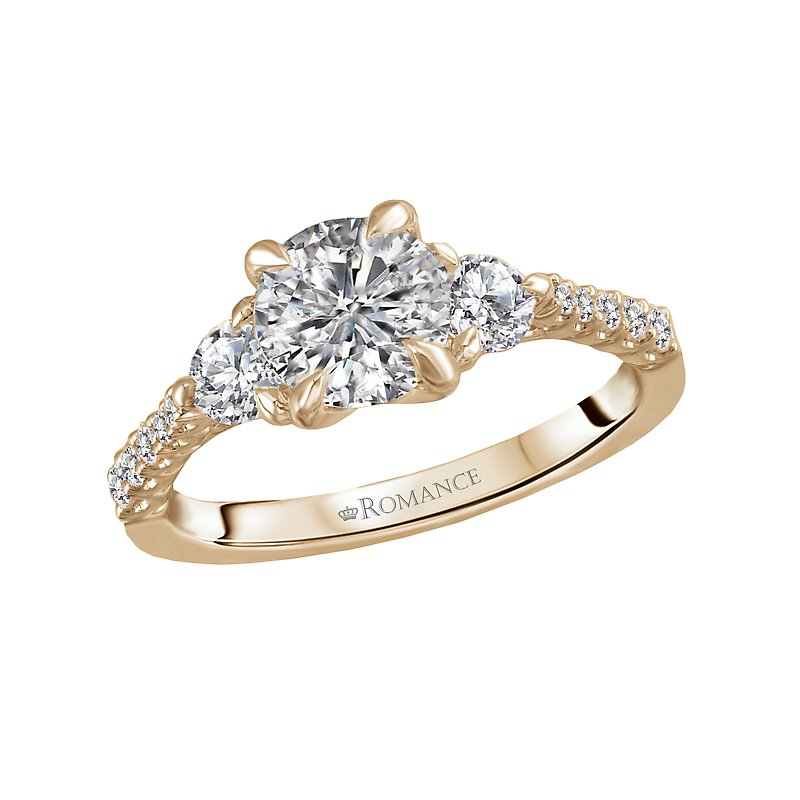 Romance Three Stone Semi-Mount Diamond Ring