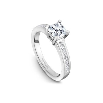 Side-Stone Asscher Cut Solitaire Engagement Ring