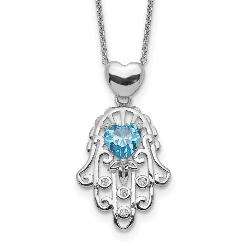 Quality Gold Sterling Silver Blue and Clear CZ Hamsa Necklace