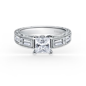 Deco Baguette Diamond Engraved Engagement Ring