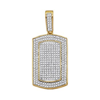 10kt Yellow Gold Mens Round Diamond Framed Dog Tag Cluster Charm Pendant 7/8 Cttw