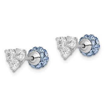 Sterling Silver Rhodium plated Blue Crystal & CZ Front & Back Earrings