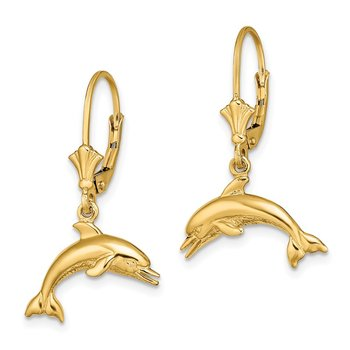 14K Jumping Dolphin Leverback Earrings