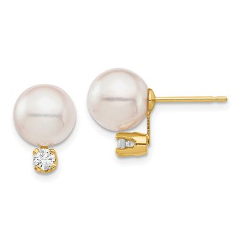 14K 8-9mm White Round Saltwater Akoya Cultured Pearl Diamond Post Earrings