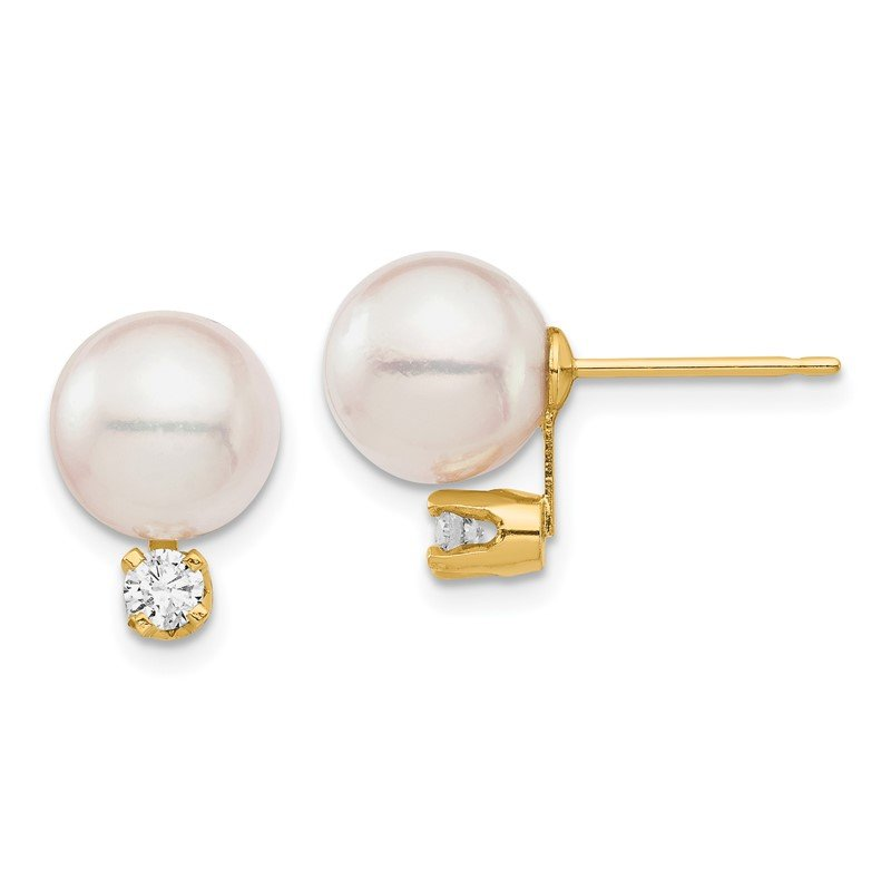 Quality Gold 14K 8-9mm White Round Saltwater Akoya Cultured Pearl Diamond Post Earrings