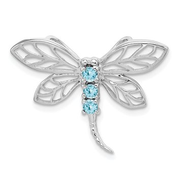 Sterling Silver Rhodium Light Swiss Blue Topaz Dragonfly Pendant