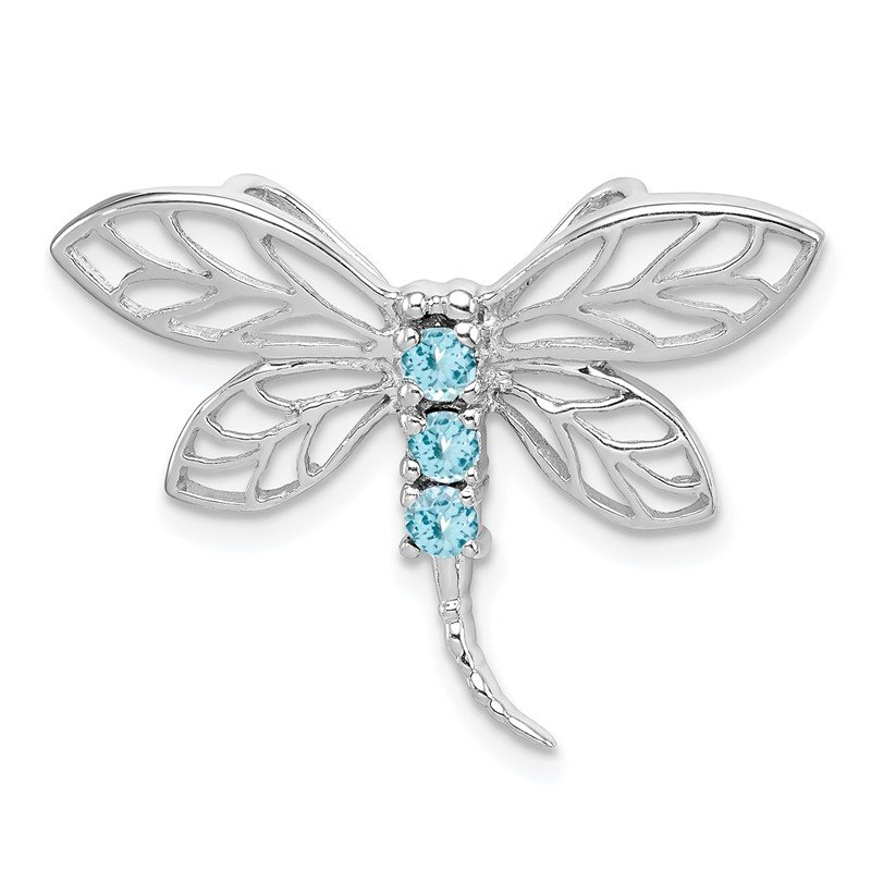 Quality Gold Sterling Silver Rhodium Light Swiss Blue Topaz Dragonfly Pendant
