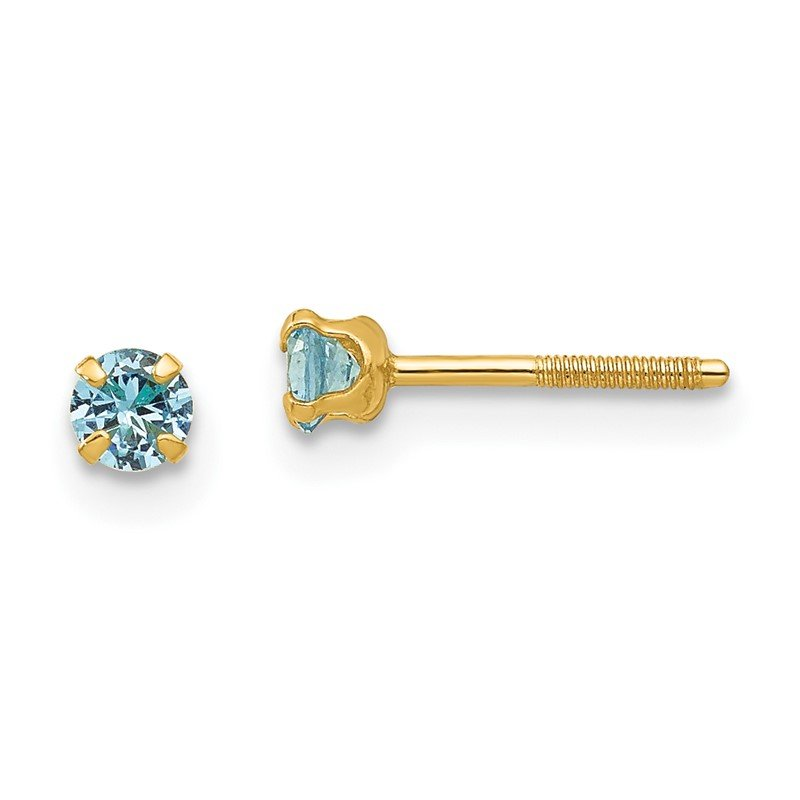 Quality Gold 14k Madi K 3mm Synthetic Blue Zircon Birthstone Earrings