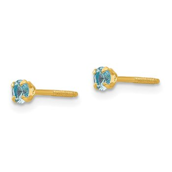 14k Madi K 3mm Synthetic Blue Zircon Birthstone Earrings
