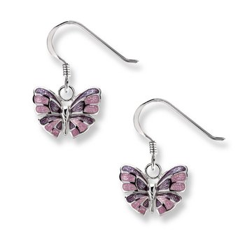 Purple Butterfly Wire Earrings.Sterling Silver