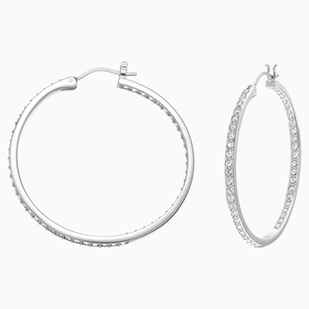 Sommerset Hoop Pierced Earrings, White, Rhodium plated