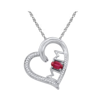 10k White Gold Womens Lab-created Ruby & Diamond Heart Mom Mother Love Pendant 5/8 Cttw