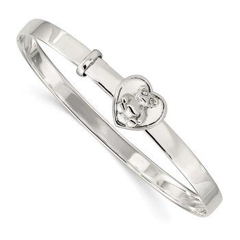 Sterling Silver Children's CZ Adjustable Bear/Heart 4mm Bangle