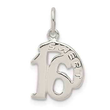 Sterling Silver Polished SWEET 16 Charm