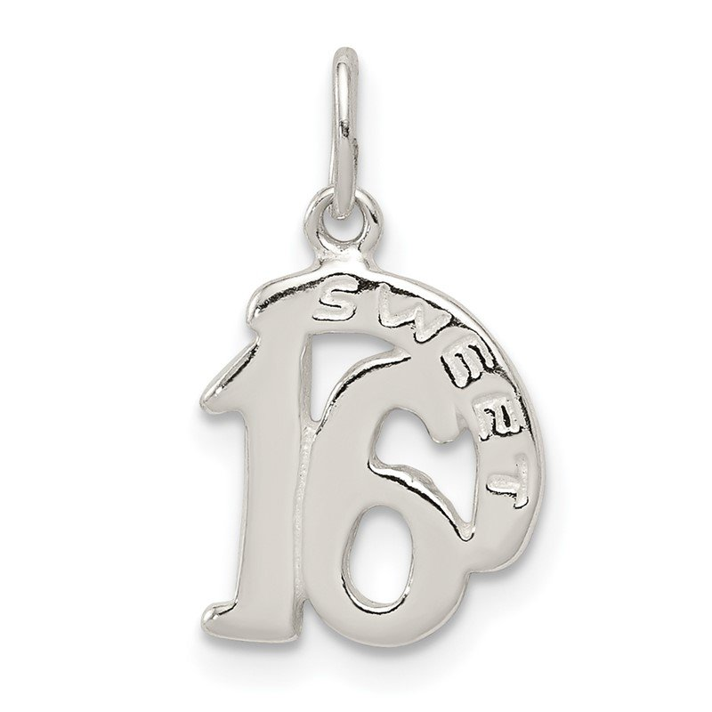 Quality Gold Sterling Silver Polished SWEET 16 Charm