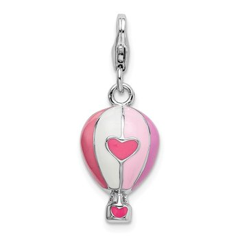 Sterling Silver Amore La Vita Rhod-pl 3-D Enameled Hot Air Balloon Charm