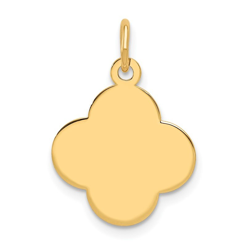Quality Gold 14k Plain .027 Gauge Engravable Quadrafoil Disc Charm