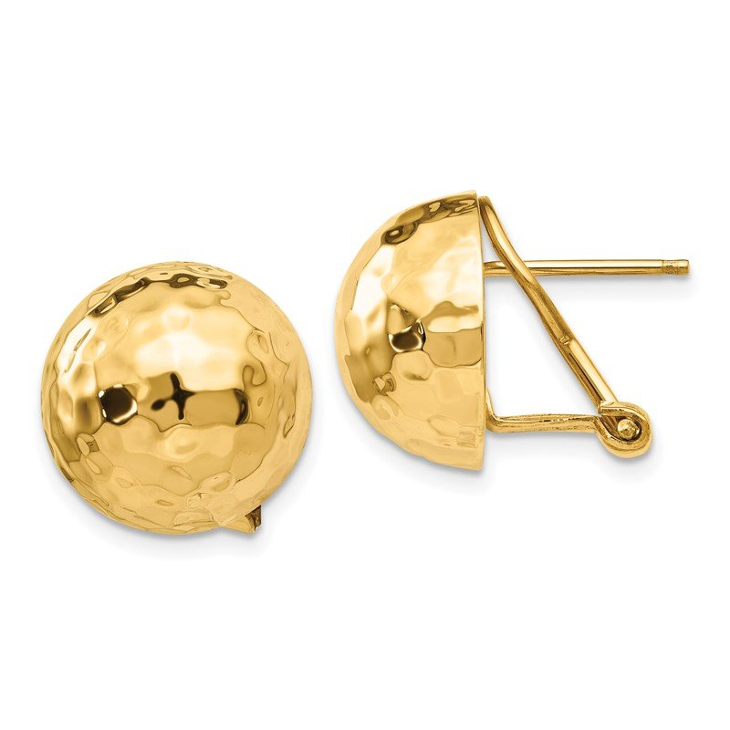 Quality Gold 14k Hammered Omega Back Post Earrings