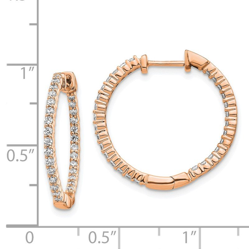 Quality Gold 14k Rose Gold Polished Diamond In/Out Hinged Hoop Earrings