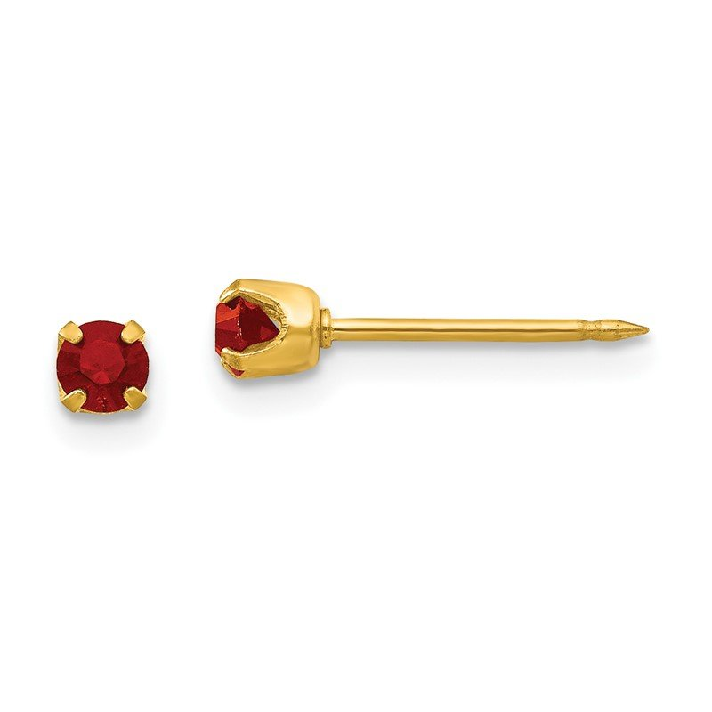 J.F. Kruse Signature Collection Inverness 24k Plated July Red Crystal Birthstone Earrings