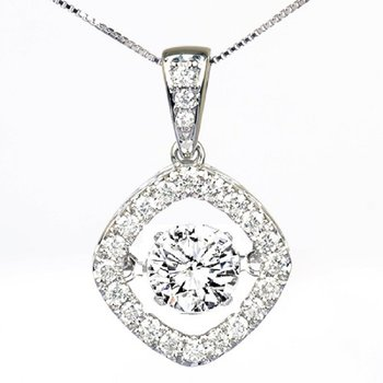 14K Diamond Rhythm Of Love Pendant 1 1/4 ctw (1 ct Center )