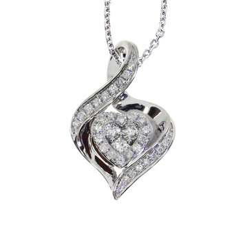 14k White Gold Bypass Diamond Heart Pendant