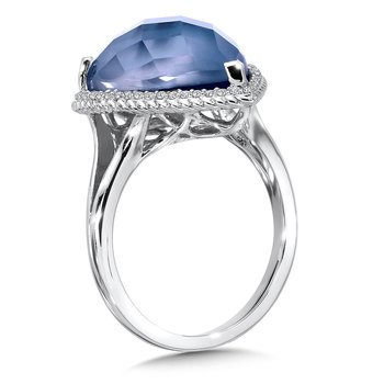 Blue Mother of Pearl Fusion and Diamond Ring in 14K White Gold