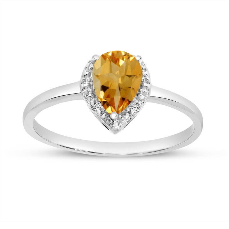 Color Merchants 10k White Gold Pear Citrine And Diamond Ring