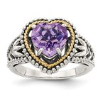 Shey Couture Sterling Silver w/14k Antiqued Amethyst Heart Ring