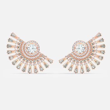 Swarovski Sparkling Dance Dial Up Pierced Earrings, Gray, Rose-gold tone plated