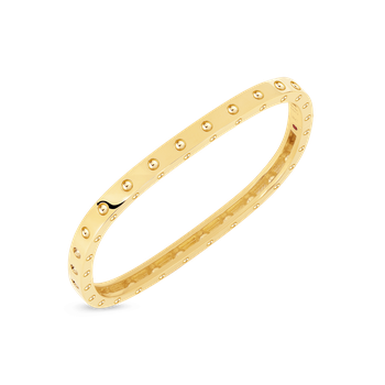 18KT GOLD POIS MOI SINGLE ROW SQUARE BANGLE