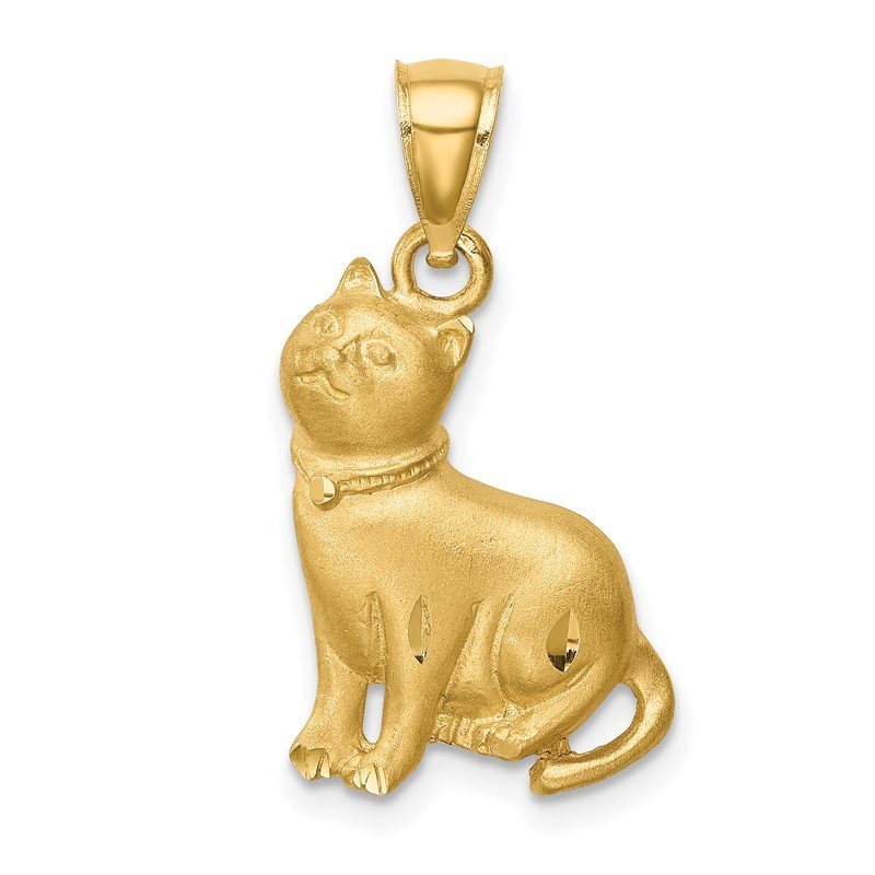 Quality Gold 14K Diamond-cut Cat Pendant